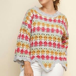 Women's Plus Size Crochet Bell Sleeve Sweater